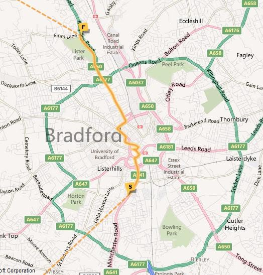 Bradford Torch Relay Map
