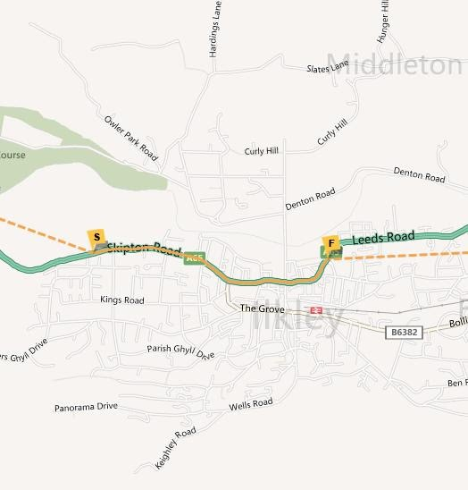 Ilkley Torch Relay Map